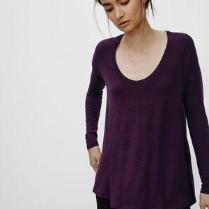 Aritzia Talula Bethwin T Shirt Burgundy